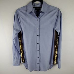 J. CREW Blue Cotton Button Down With Sequin Detail